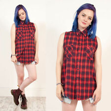 VINTAGE 90'S RED CHECK PLAID FLANNEL SLEEVELESS GRUNGE STYLE REWORKED SHIRT 10