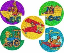 5 X Circle Stickers Scooby Doo Train Loader Plane Truck Sparkle Party Favour