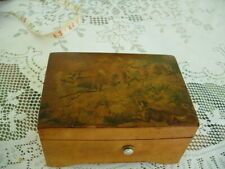 Antique Thorens Swiss 2 Tune Burled Wood Music Box 2 Deer & Dog Scene Works