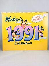 Vintage Walt Disney Mickeys 1991 Wall Calendar w/ Stickers Euc