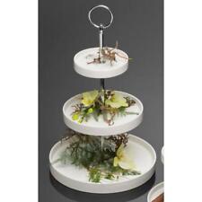 3-stöckige Etagere ROUND Kuchenplatte Porzellan H 34,5cm weiß rund Sandra Rich