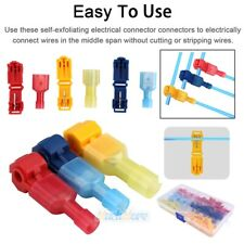 60PCS Waterproof 22-10 AWG T-Tap Quick Splice Wire Terminal Crimp Connector Kit
