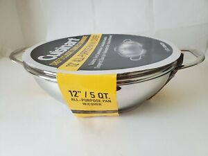 """New Cuisinart Chef's Classic Stainless 12"""" Covered Pot All Purpose Pan 5 QT."""