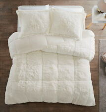 ULTRA SOFT PLUSH IVORY FAUX FUR COMFORTER SET : CREAM SHAGGY BEAR HUG BEDDING