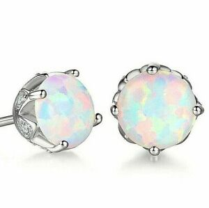 Lovely classic 18ct white gold filled  Fire Opal glass stud earrings