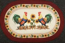 """OVAL BRAIDED KITCHEN RUG (20"""" x 30"""") 2 FRENCH COUNTRY ROOSTERS & SUNFLOWERS"""