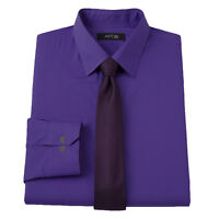 New APT 9 Men's Slim-Fit Spread-Collar Dress Shirt Purple + Skinny Tie MSRP $55