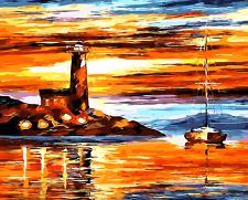 "New DIY Paint By Number 16*20"" kit Oil Painting On Canvas Lighthouse & Ship 1336"