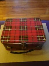 Vtg 1964 King Seeley Thermos Brand Plaid Red and Black Rusty Lunchbox NO THERMOS