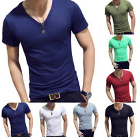 Summer Men V-Neck Gym Short Sleeve T-Shirt Tight Slim Fit Muscle Tee Tops