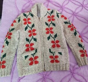 Vintage Cowichan Sweater Floral Speckled Oatmeal Wool Threading XS-Small