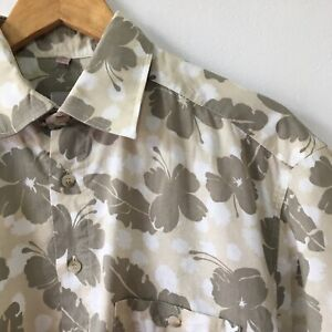 Vintage Mens 90s Abstract Crazy Print Shirt Size M Grey Floral Summer Beach