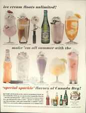 "Vintage 1962 Canada Dry ""Ice Cream Floats Unlimited"" Print Ad Advertisement"