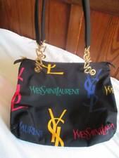RARE VINTAGE YSL LOGO Nylon Borsa Cuore MANIGLIE Yves Saint Laurent 90s 2000s