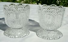 2 Avon Vintage Fostoria Crystal Glass Candle Holders Diamond Daisy Cut