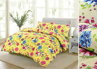 Floral Duvet Cover Bedding Set Pillowcases Yellow Cream Single Double Super King