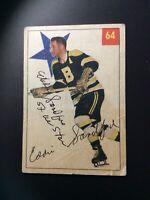 1954-55 PARKHURST SIGNED # 90 ED SANDFORD~AUTO W/ INSCRIPTION 5X ALL STAR