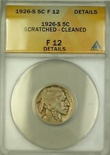 1926-S Buffalo Nickel 5c Coin ANACS F-12 Details Scratched Cleaned