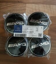 4pcs Mercedes Benz Alloy Wheel Centre Caps 75mm Badges BLACK AMG A B C E ML CLK