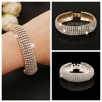 Diamante Women Cuff Bangle 7 Row Crystal Bracelet Chain Gold/NewJewelry