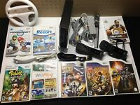 Mario Kart Nintendo Wii Console System Bundle with Controllers, Wheel, 8 Games