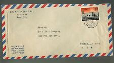 BUS-1184**TURKEY 1956  AIR MAIL COMMERCIAL COVER* BURSA TO TOLEDO, OH