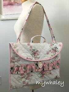 Ruffles PORTFOLIO BAG Laptop Case PiNK ROSes made w/Simply Shabby Chic fabr NEW!