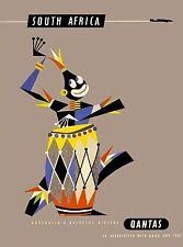 South Africa Native Man Qantas Vintage African Travel Advertisement Poster