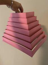 Vtg Matching Pair Mid Century Modern Art Deco Pink Venetian 6 Tier Lamp Shade