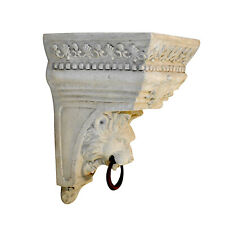 Corbel Bracket Shelf with Lion Face - Ring Hanging or Swag Drapery Faux Stone