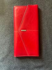Rolodex Portfolio Wallet 10 X 5 Business Card Holder Stylish Red Tri Fold