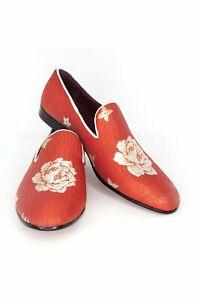 BARABAS Men floral design black red loafer slip on dress Shoes SH1815