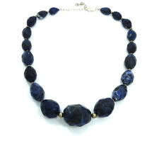 MASSIVE Natural Faceted Blue SAPPHIRE Bead Strand Sterling Silver Necklace 130g
