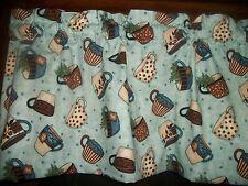 Coffee Chia Tea Shop Cups Blue Polka Dot Stripes fabric kitchen curtain Valance