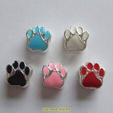 1 or 4 x Silver Plated Enamel Animal Bear Paw European Charm Bracelet Beads