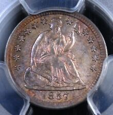 1857 SEATED HALF DIME PCGS MS62 GLORIOUS ORIGINAL TONE