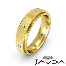 Bezel Set Round Diamond Men Ring 18k Yellow Gold Eternity Wedding Band 0.16Ct