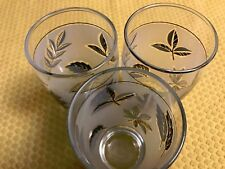 3 LIBBEY fall leaves metallic silver frosted tumbler water glasses vintage 5.25""