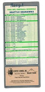 """1985 Seattle Seahawks Football Schedule Hangit 9"""" Sign Nelson Farms Ad Anacortes"""