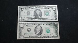 $5 & $10 FEDERAL RESERVE OFFSET PRINTING ERROR CIRCULATED BILLS SEE DESCRIPTION!
