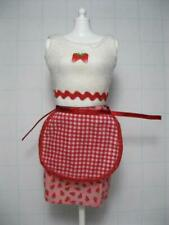 VTG Barbie Doll 2001 fun treats Strawberry Skirt Top REd Check Chef Cook Apron