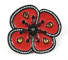Vintage LOULOU de La Falaise Flower Floral Rhinestone Pin Brooch Magenta Enamel