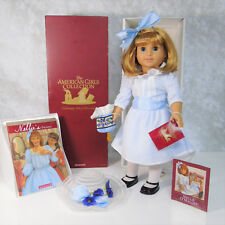 """American Girl Pleasant Company 18"""" DOLL NELLIE in MEET OUTFIT Hat Purse Book BOX"""