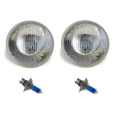 "7"" Halogen Semi Sealed Beam Stock Headlight Head Lamp White H4 Bulbs 60/55W 12V"