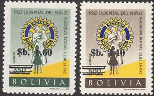 1966 Bolivia SC# 486-487 - Various Issues Surcharged with New Values - M-NH