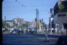 1950's Japan  35 mm Red Border Film Slide Officer Directing Traffic Ginza St  S4