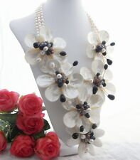 White Pearl Shell Flower Onyx Necklace