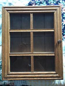 """Vintage 14.5"""" Wood Cabinet Glass Panel Door Hanging Shelf"""