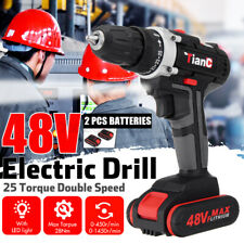 48V Cordless Drill 2 Speed Electric Screwdriver Wireless Power Driver+2 Battery