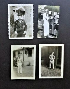LOT OF 4 PHOTOS/NAVY MEN SHIRTLESS/BLUE AND WHITE UNIFORMS/ VINTAGE/GAY INT.